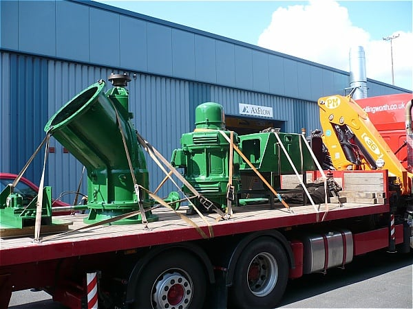 Drysdale pumps leaving the AxFlow plant ready for re-installation at Bentley Ings