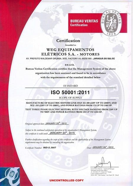 WEG's electric motors awarded ISO 50.001:2011 certification for its Energy Management System