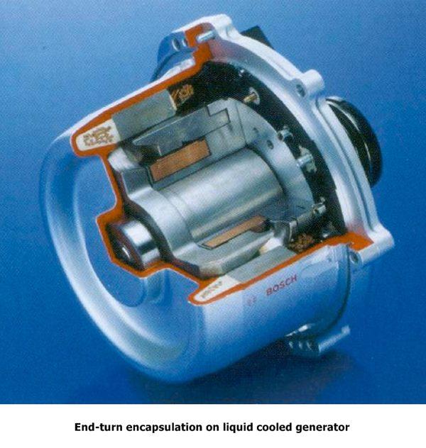 Encapsulación de final de giro en generador refrigerado por líquido