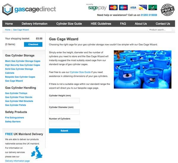 Os novos recursos do gascagedirect.co.uk