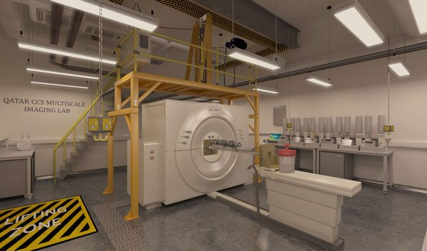 Сканер КТ в Лаборатории визуализации QCCSRC с системой Gantry Technology Heason выше.