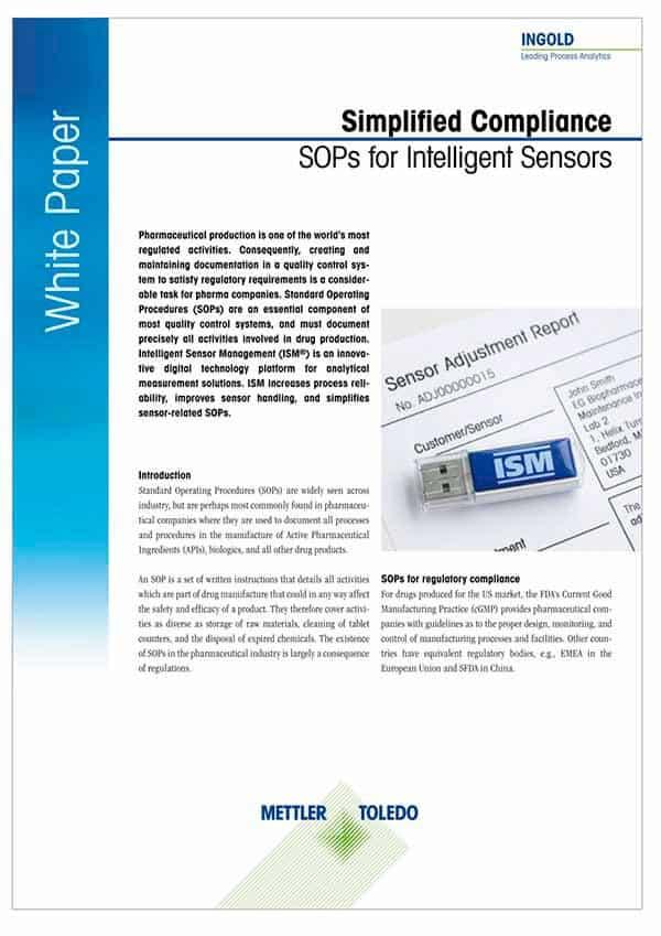 METTLER TOLEDO,SOPs for Intelligent Sensors