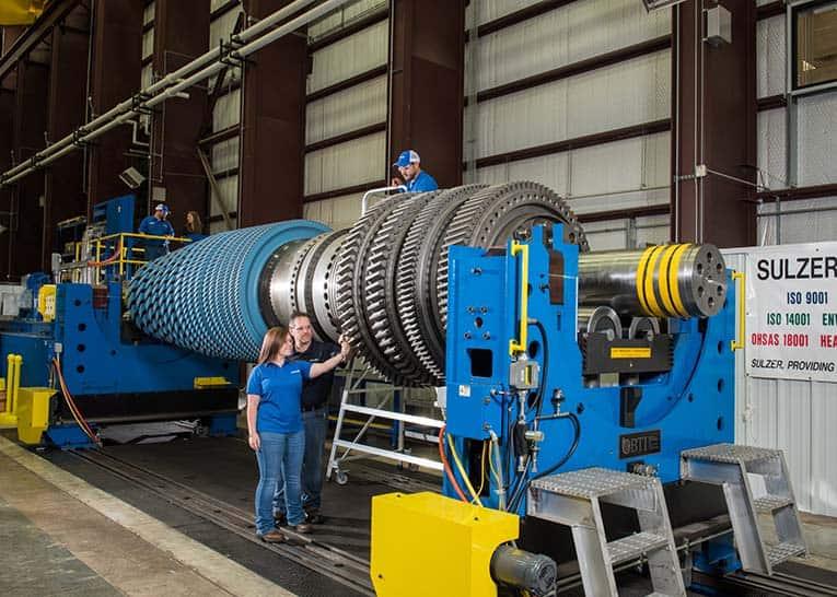 Reparación de rotor de turbina de gas industrial