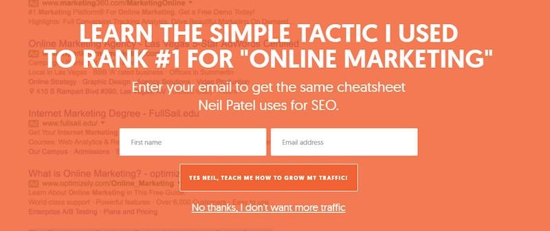 L'email de Neil Patel s'abonner - Email marketing industriel